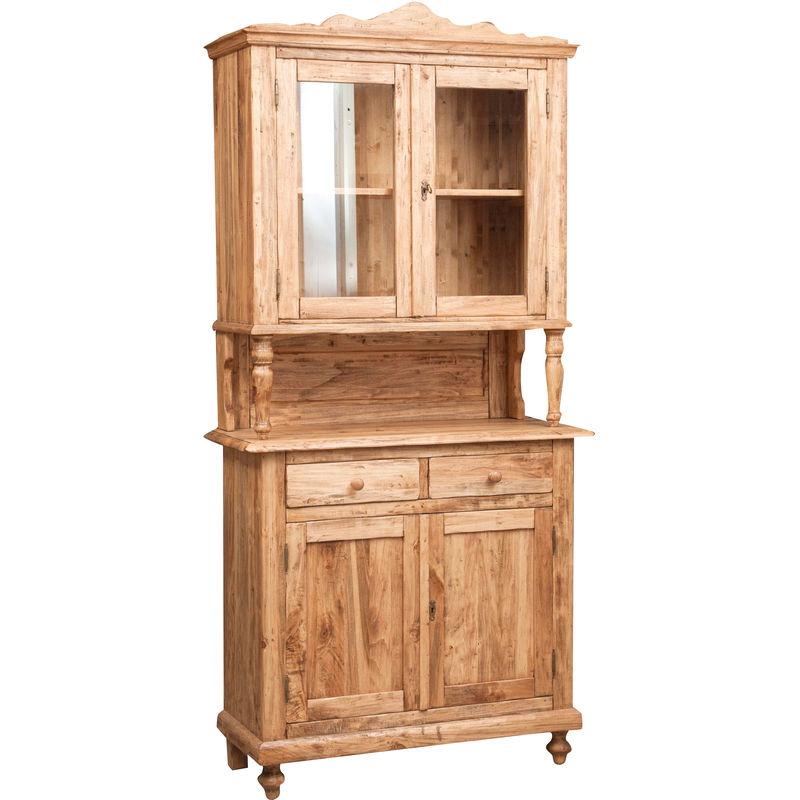 Küchenschrank mit Vitrine aus massivem Lindenholz mit natürlichem Finish L107xPR43xH238 cm. Made in Italy - BISCOTTINI