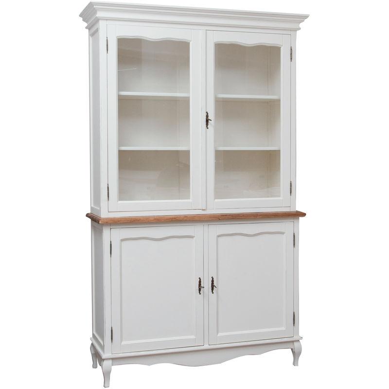 Küchenschrank aus massivem Lindenholz mit weißer Struktur und Platte mit natürlichem Finish L125xPR42xH207 cm. Made in Italy - BISCOTTINI