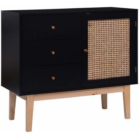 Sideboard Black 88,5x40x80 cm MDF