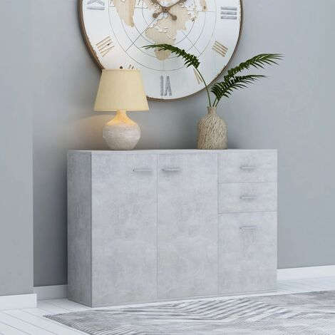 Sideboard Concrete Grey 105x30x75 cm Chipboard