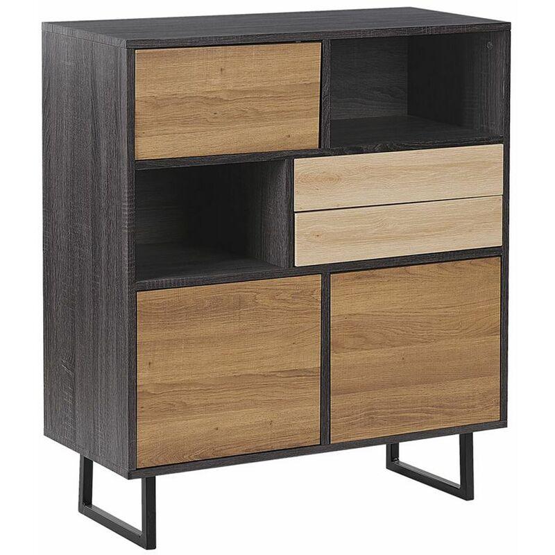 Sideboard Braun Holzfarbton Sonoma-Eiche 3 Schränke 2 Fächer 2 Schubladen Industrie Look - BELIANI