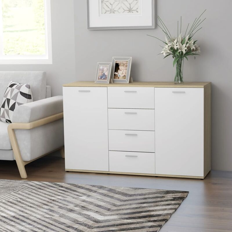 Sideboard 120x35,5x75cm Spanplatte Weiß Sonoma-Eiche - VIDAXL