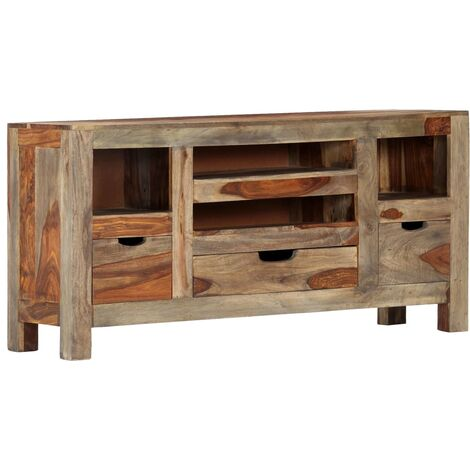 Sideboard Grey 100x30x50 cm Solid Sheesham Wood