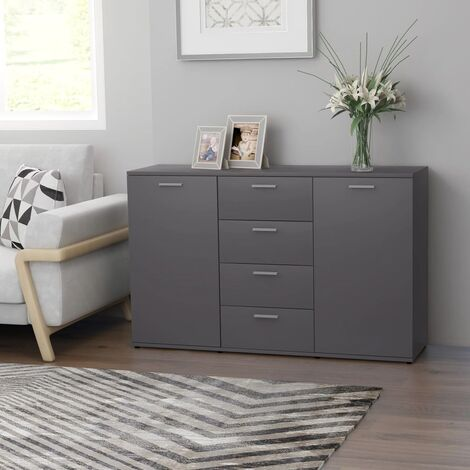 Sideboard Grey 120x35,5x75 cm Chipboard