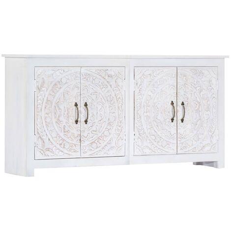 Sideboard Handgefertigt Weiß 140×30×70 cm Massivholz Akazie