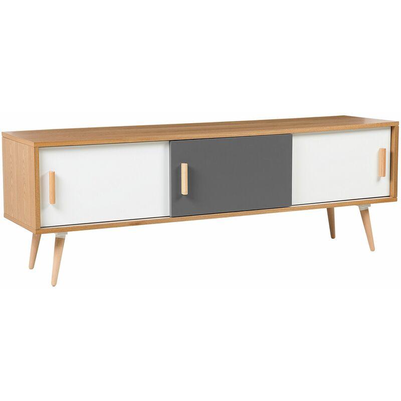 TV Lowboard Heller Holzfarbton Weiß Grau MDF Platte Buchenholz 55 x 160 x 40 cm Modern Trendy Elegant 3 Schränke Wohnzimmer