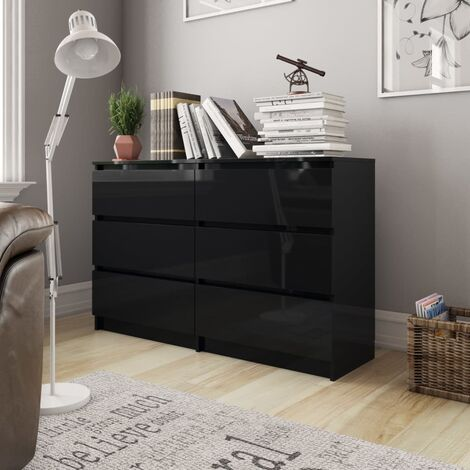 Sideboard High Gloss Black 120x35x76 cm Chipboard
