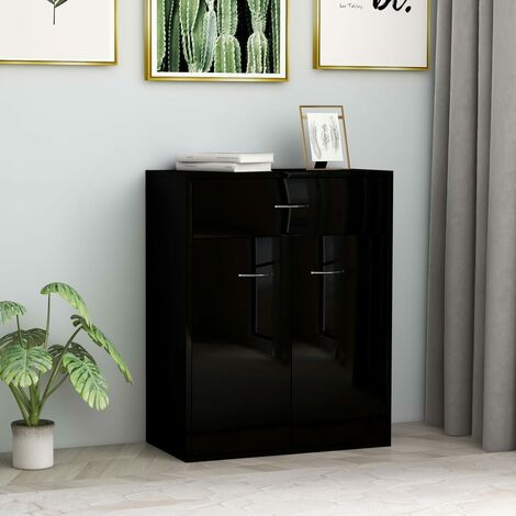 Sideboard High Gloss Black 60x30x75 cm Chipboard