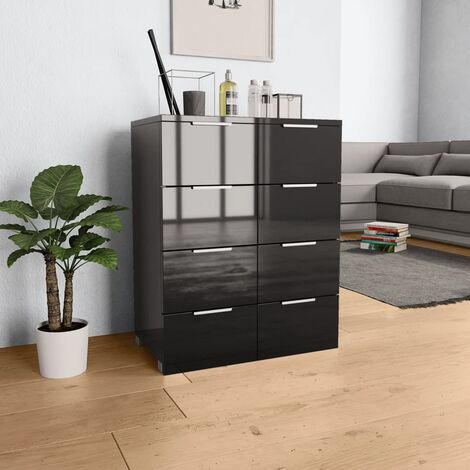 Sideboard High Gloss Black 60x35x76 cm Chipboard - Black