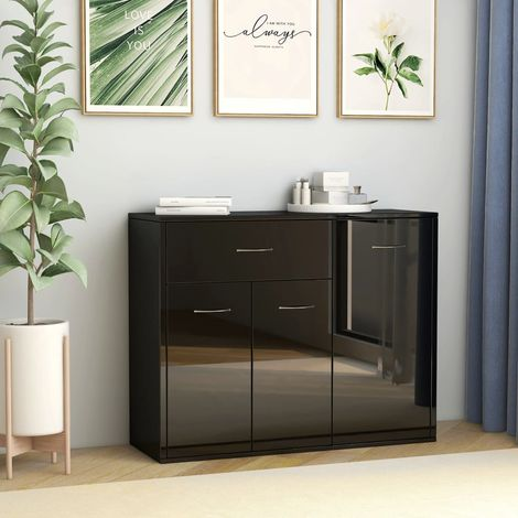 Sideboard High Gloss Black 88x30x70 cm Chipboard