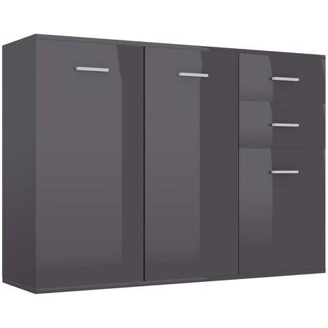 Sideboard High Gloss Grey 105x30x75 cm Chipboard