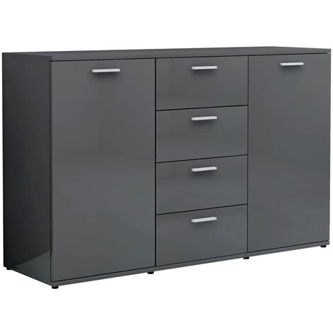 Sideboard High Gloss Grey 120x35,5x75 cm Chipboard