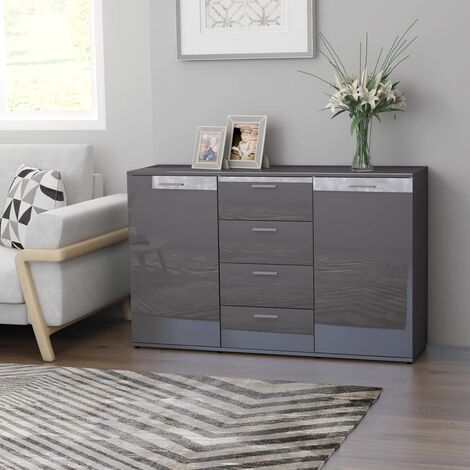 """main image of """"Sideboard High Gloss Grey 120x35,5x75 cm Chipboard36204-Serial number"""""""
