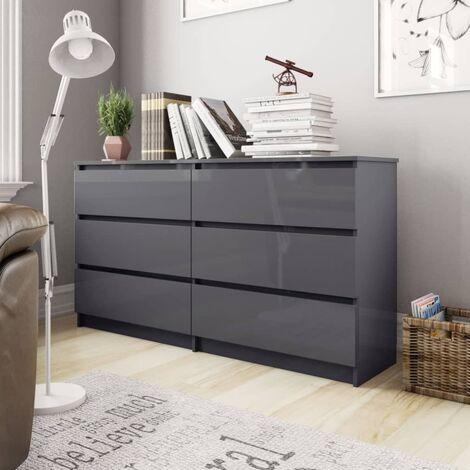 Sideboard High Gloss Grey 140x35x76 cm Chipboard