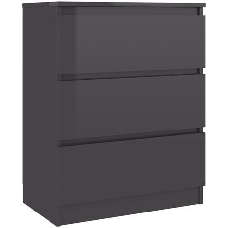 Sideboard High Gloss Grey 60x35x76 cm Chipboard