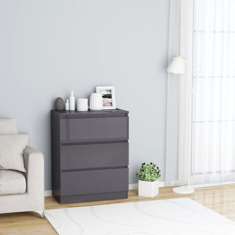 Sideboard High Gloss Grey 60x35x76 cm Chipboard