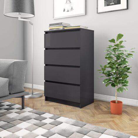 Sideboard High Gloss Grey 60x35x98.5 cm Chipboard - Grey