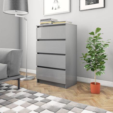 Sideboard High Gloss Grey 70x40x97 cm Chipboard