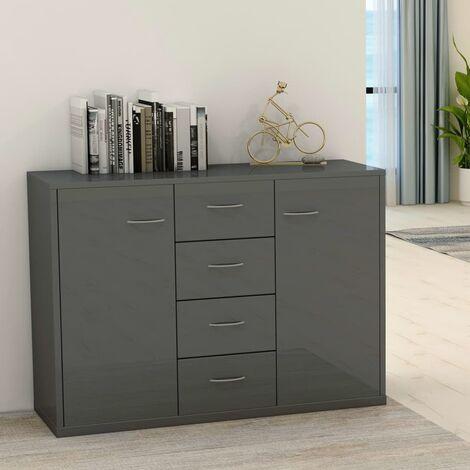 Sideboard High Gloss Grey 88x30x65 cm Chipboard - Grey