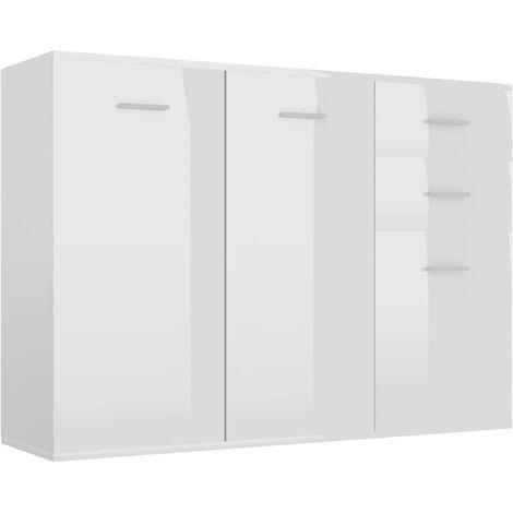 Sideboard High Gloss White 105x30x75 cm Chipboard