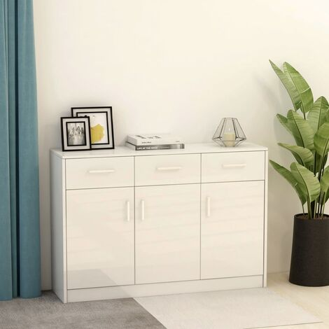 Sideboard High Gloss White 110x34x75 cm Chipboard