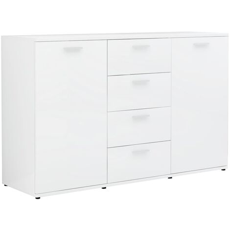 Sideboard High Gloss White 120x35,5x75 cm Chipboard