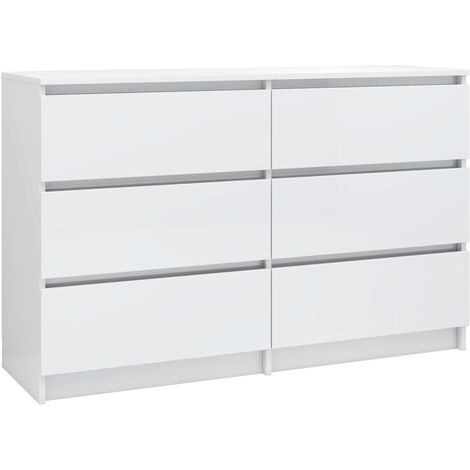 Sideboard High Gloss White 120x35x76 cm Chipboard