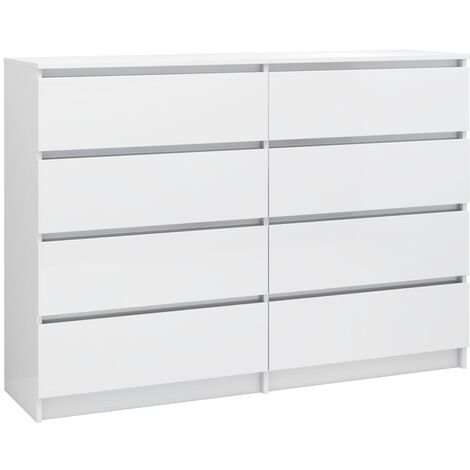 Sideboard High Gloss White 140x35x99 cm Chipboard