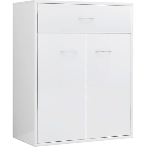 Sideboard High Gloss White 60x30x75 cm Chipboard