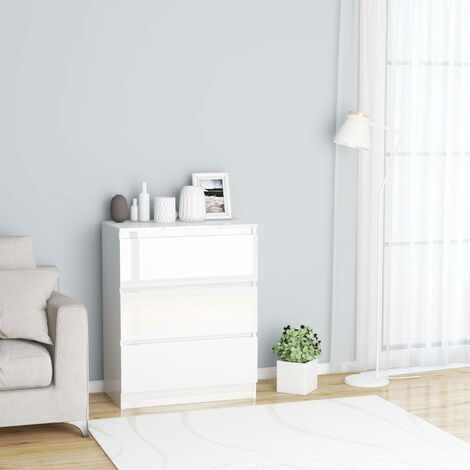 Sideboard High Gloss White 60x35x76 cm Chipboard