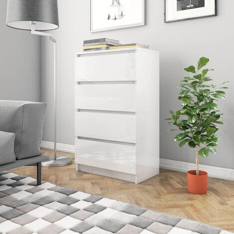 Sideboard High Gloss White 60x35x98.5 cm Chipboard