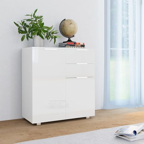 Sideboard High Gloss White 71x35x76 cm Chipboard