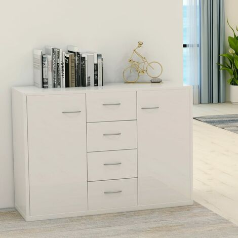 Sideboard High Gloss White 88x30x65 cm Chipboard