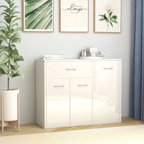 """main image of """"Sideboard High Gloss White 88x30x70 cm Chipboard"""""""