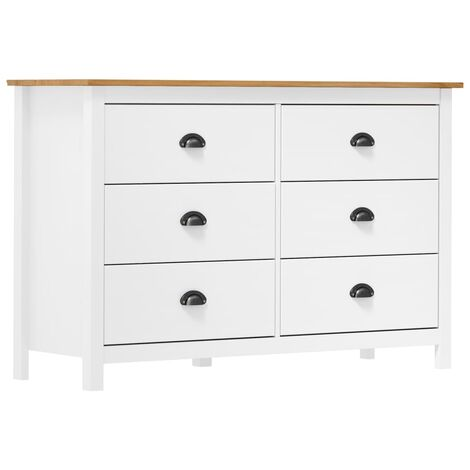 Sideboard Hill Range White 125x40x80 cm Solid Pine Wood
