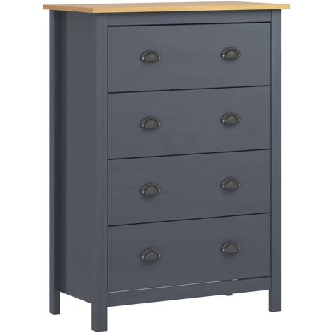 Sideboard Hill Range with 4 Drawers Grey 79x40x110 cm Solid Pine Wood