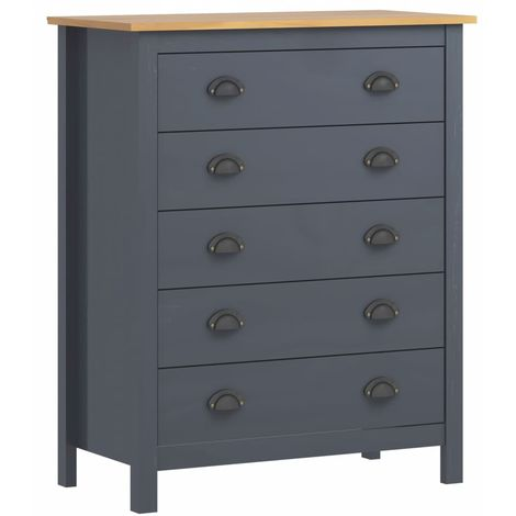 Sideboard Hill Range with 5 Drawers Grey 79x40x96.5 cm Solid Pine Wood