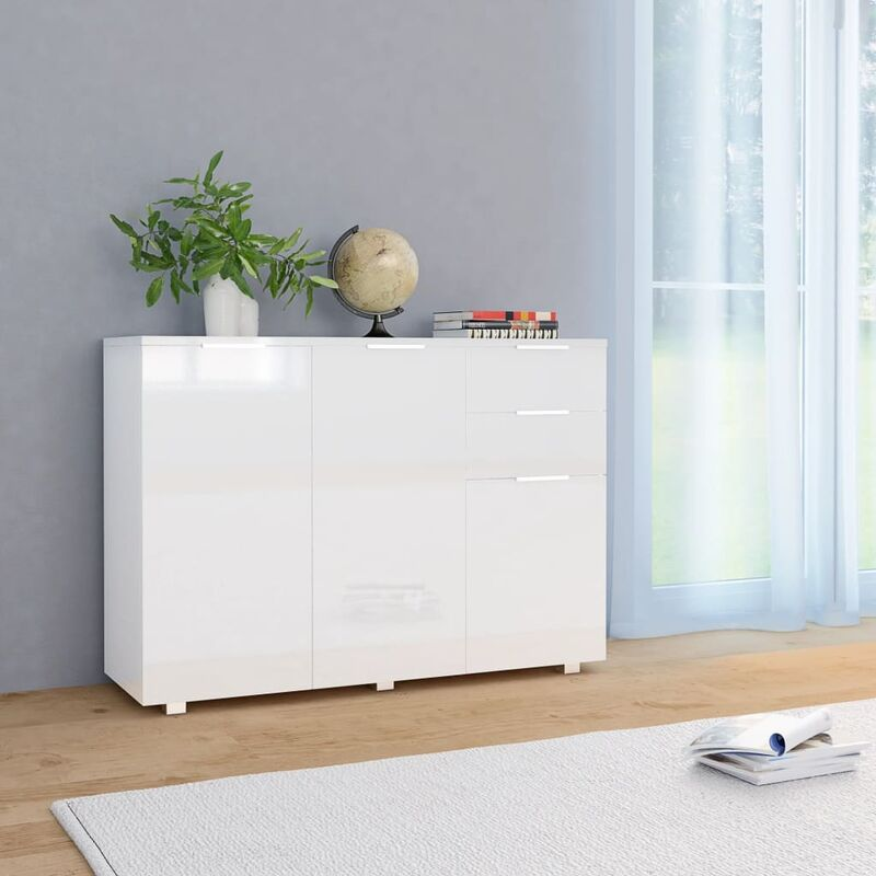 Sideboard Hochglanz-Weiß 107 x 35 x 76 cm - ZQYRLAR