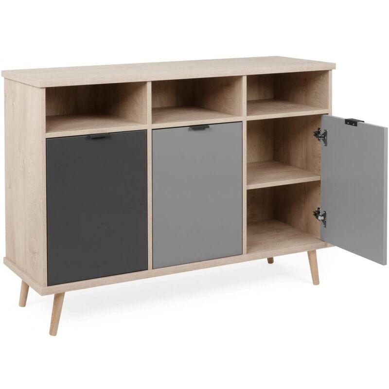 Finori - Sideboard Kommode Beistellkommode ca. 120 cm 002930 EPIK 51 Elegance Endgrain / Grau-'SW15221'