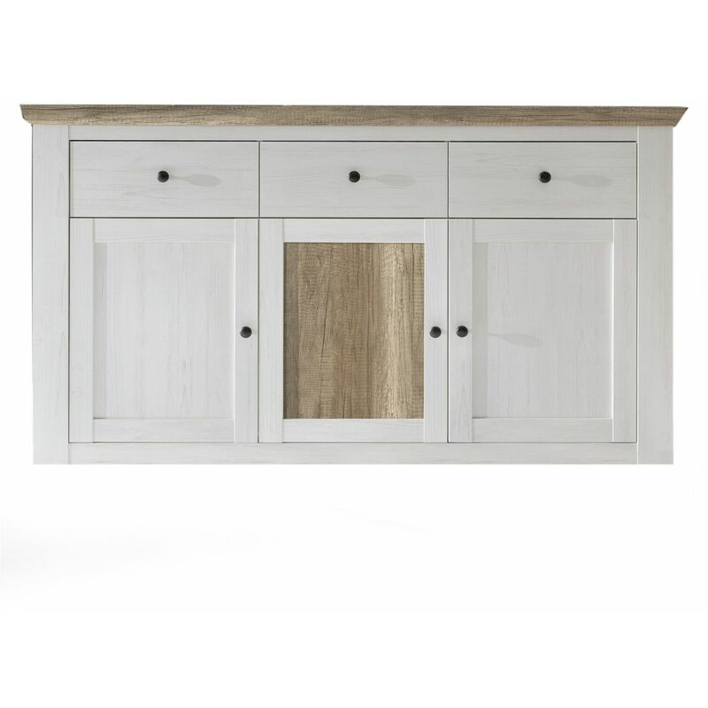 Sideboard Kommode PORTO Anderson Kiefer Weiss / Canyon Eiche - FUN MOEBEL