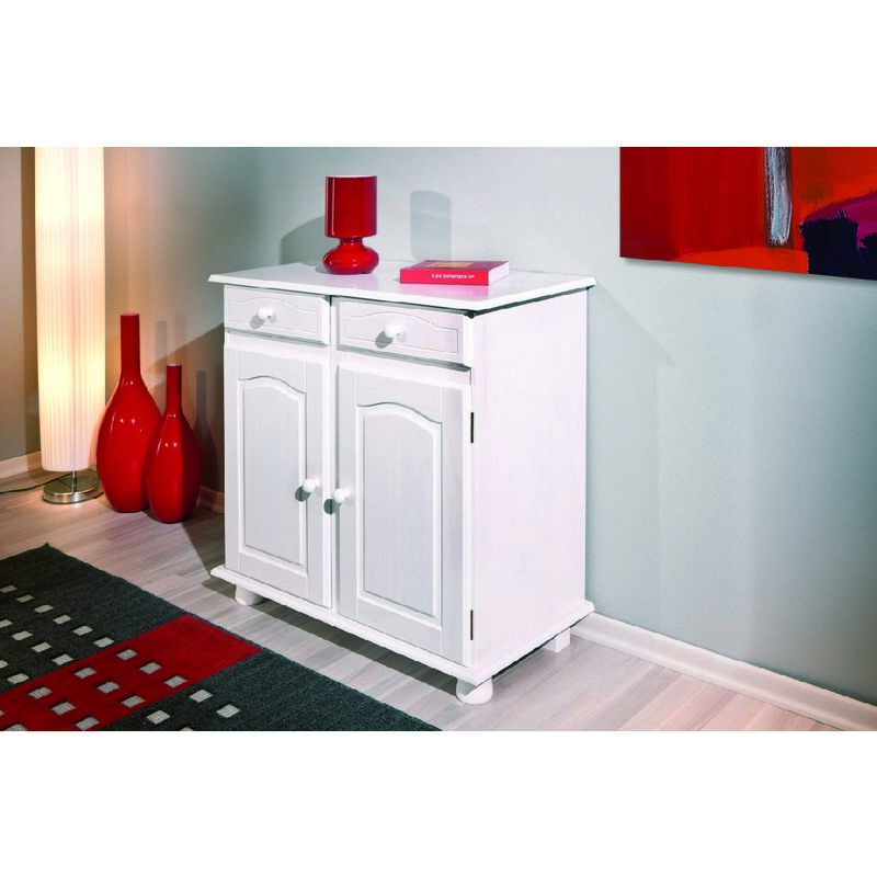 Sideboard mit 2 Türen und 2 Schubladen aus massivem Kiefernholz in klarem Weiß lackiert - DMORA
