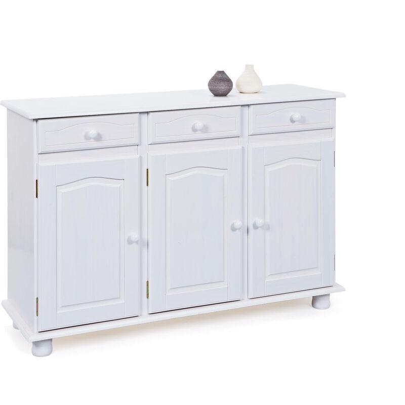 Sideboard mit 3-Türen mit 3 Schubladen aus massivem Kiefernholz, lackiert in klarem Weiß - DMORA