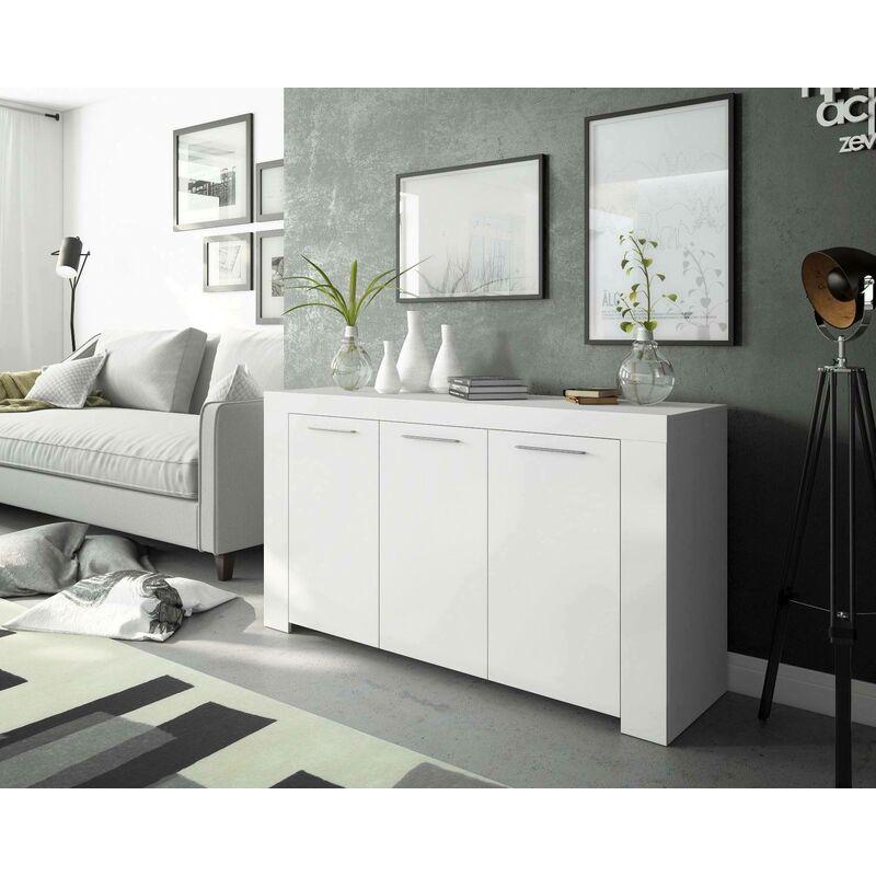 Dmora - Sideboard mit drei Türen mit drei Innenregalen, Farbe glänzendes Weiß, 114 x 80 x 42 cm.