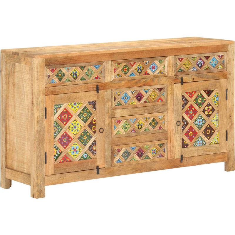 Sideboard mit Keramikfliesen 140x40x80 cm Mango Massivholz - VIDAXL