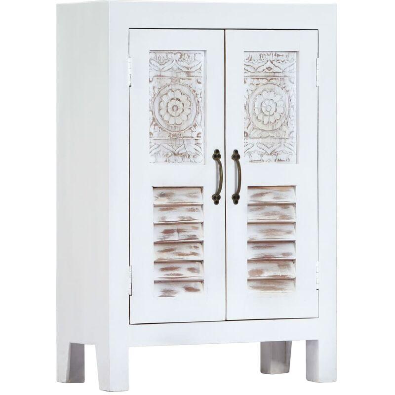 Sideboard mit Schnitzereien Weiß 60×30×89 cm Mango Massivholz - VIDAXL