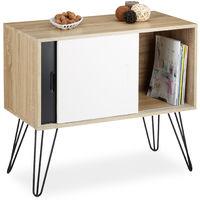 Sideboard Retro, Kommode mit Schiebetüren, Anrichte aus Holz und Metall, HBT: 70 x 80 x 40 cm, schwarz-weiß