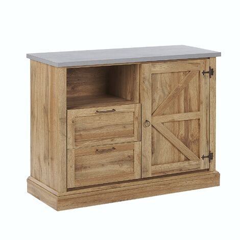 "main image of ""Sideboard Rustic Cottage Cabinet Storage 1 Door 2 Drawers Light Wood Toronto"""