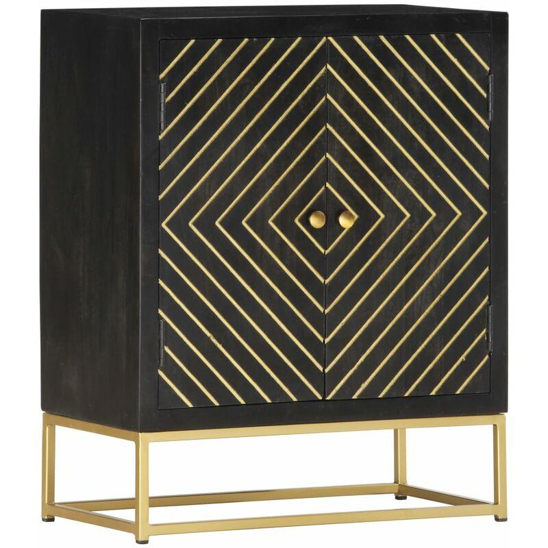 Sideboard Schwarz und Golden 60×30×75 cm Massivholz Mango - VIDAXL