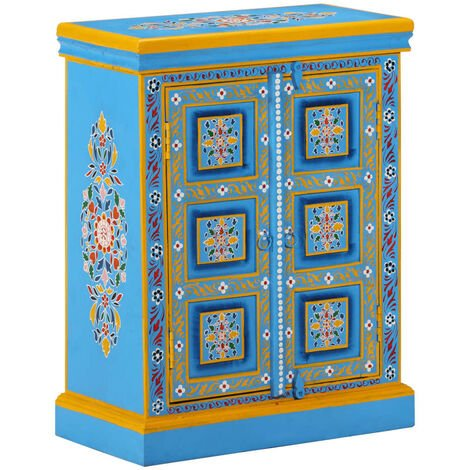 Sideboard Solid Mango Wood Turquoise Hand Painted - Turquoise