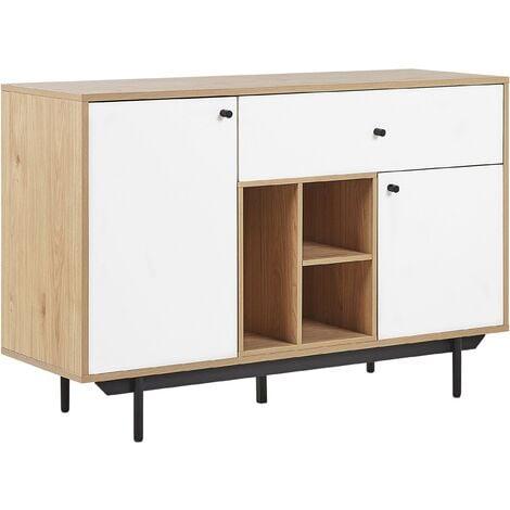 Sideboard Storage Shelves Drawers Retro Light Wood with White Itaca